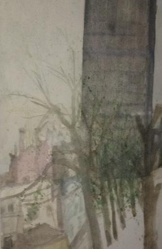 Rudolf HRADIL - Dibujo Acuarela - Tour Montparnasse