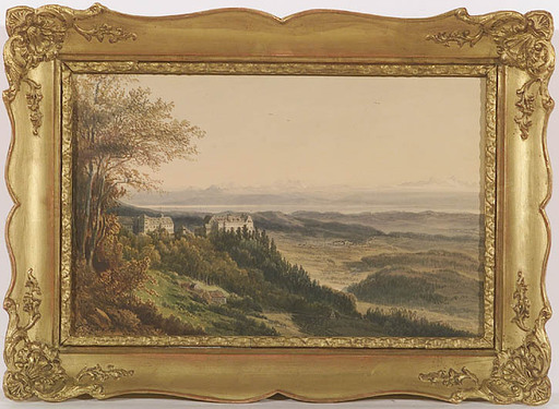 Pieter Francis PETERS - Zeichnung Aquarell - Castle Heiligenberg at Bodensee,1854