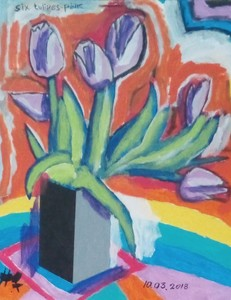 Harry BARTLETT FENNEY - Painting - six tulips pink