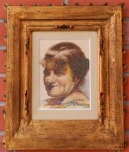Anton KÖLIG - Dibujo Acuarela - Portrait of woman