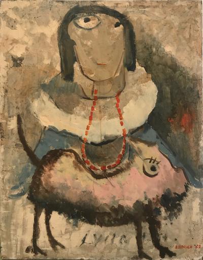 Lucio ANDRICH - Peinture - La donna con cane, 1957