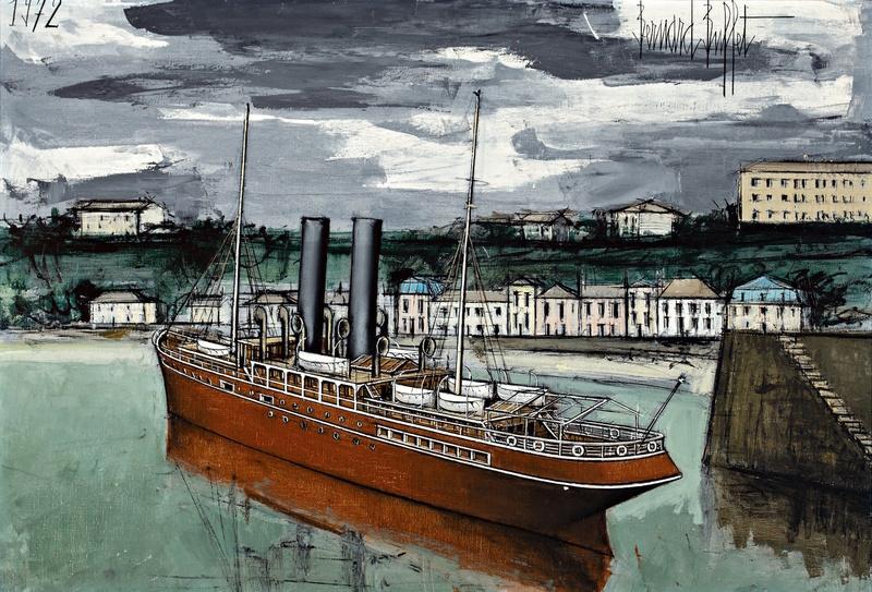 Bernard BUFFET - Painting - Granville, bateau sortant du port
