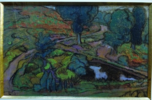 Léon JOUHAUD - Drawing-Watercolor - Paysage synthétique vers 1920