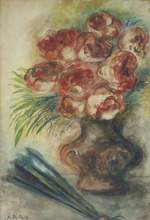 Issachar Ber RYBACK - Drawing-Watercolor - Vase of Flowers