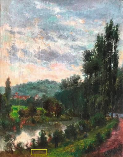 Henri Edmond CROSS - Peinture - Landscape with the fishermen