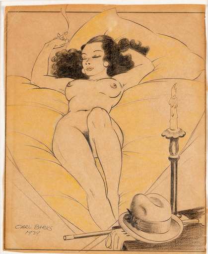 Carl BARKS - Dibujo Acuarela - The nude with the hat