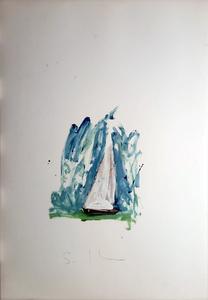 Mario SCHIFANO - Painting - Barca a vela