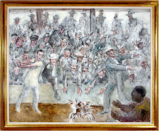 John Steuart CURRY - Painting - Cock Fight in Cuba