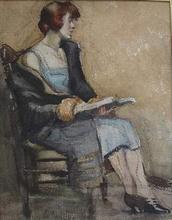 Henri Baptiste LEBASQUE - Dibujo Acuarela - Jeune Femme à la lecture