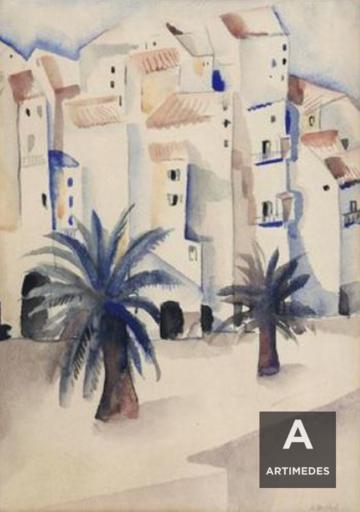 Gustave BUCHET - Dibujo Acuarela - Petit village près du Lavandou