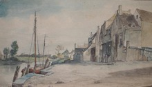 Pieter Francis PETERS - Drawing-Watercolor - Dutch village along a river