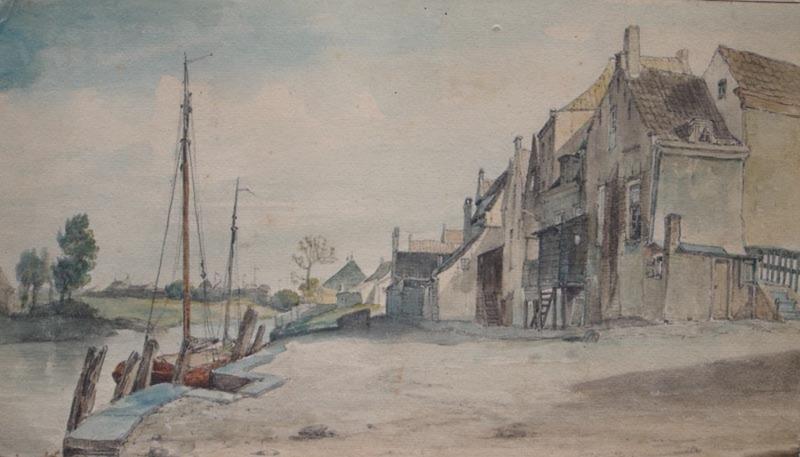 Pieter Francis PETERS - Dibujo Acuarela - Dutch village along a river