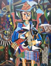 Roland CHANCO - Painting - Femme, chien et guéridon
