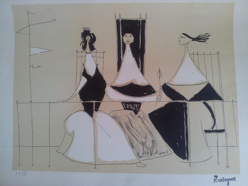 奥斯卡•多明古斯 - 版画 - Three Women on the Veranda