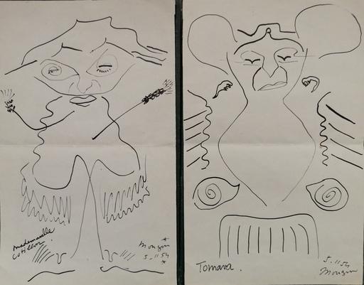 Jules MOUGIN - Drawing-Watercolor - Mlle Cotillon , Tomava et Mr Tresse