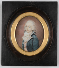 "Jean Urbain GUÉRIN - Miniature - ""Portrait of a French Gentleman"" important miniature"
