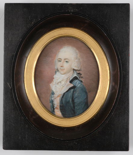 "Jean Urbain GUÉRIN - Miniature - ""Portrait of a French Gentleman"" important miniature"