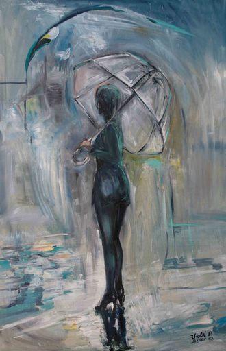 Violetta MALATERRE - Peinture - Se retourner sous la pluie