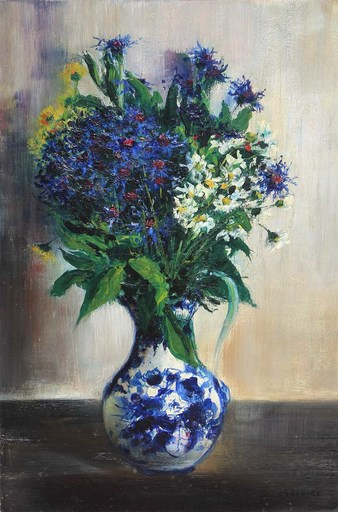 Gaston SEBIRE - Painting - Bouquet de bleuets