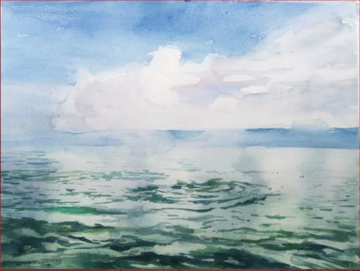 Galina VINDALOVSKAIA - Drawing-Watercolor - Clouds and Waves Seascape