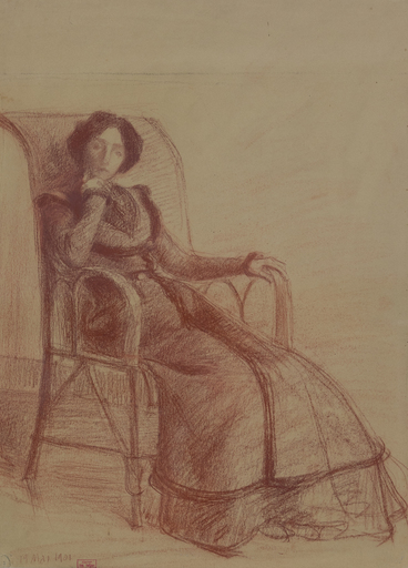 Hippolyte PETITJEAN - Zeichnung Aquarell - Madame Petitjean Assise, 19 mai 1901