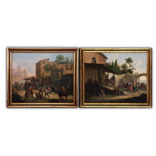 Pietro Domenico OLIVERO - Pintura - Coppia di scene campestri di fronte ad una locanda