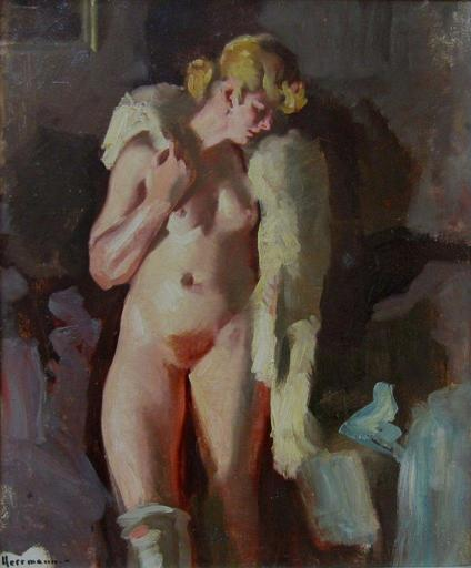 Curt HERRMANN - Painting - Nude with stole