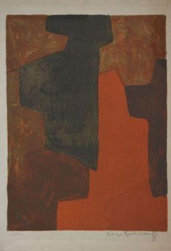 Serge POLIAKOFF - Estampe-Multiple - Composition Orange et verte n°43