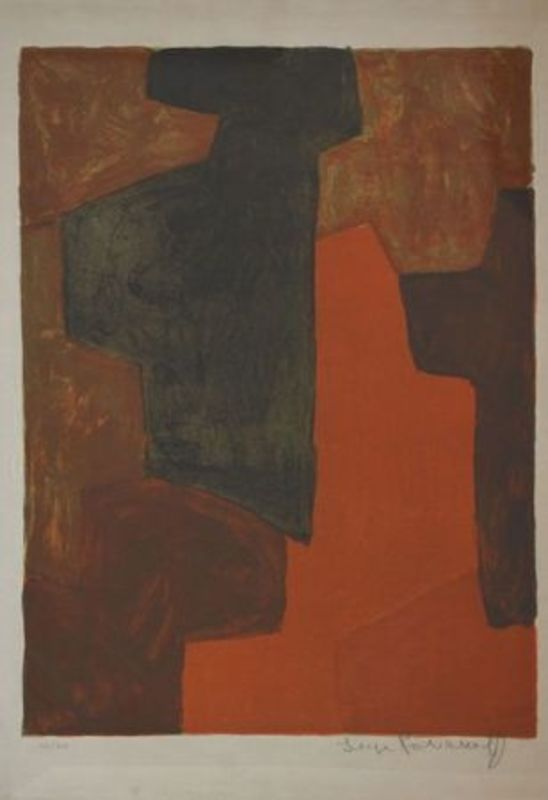 Serge POLIAKOFF - Print-Multiple - Composition Orange et verte n°43