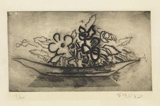 Georges BRAQUE - Grabado - Corbeille de fleurs