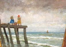 Jonas Julius KLABER - Painting - 2 Frauen am Meer