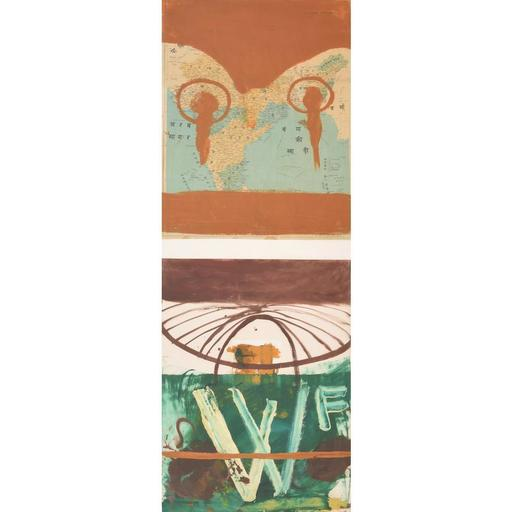 Julian SCHNABEL - Peinture - Large Julian Schnabel Mixed Media Diptych Painting