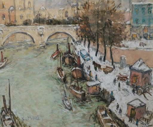 Charles MALLE - Disegno Acquarello - Bord de Seine, l'attelage