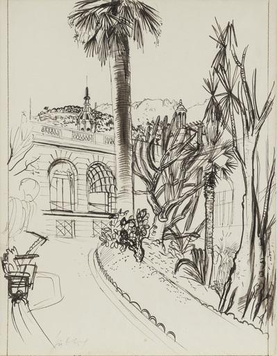 Karl HUBBUCH - Dessin-Aquarelle - Villa in Monaco