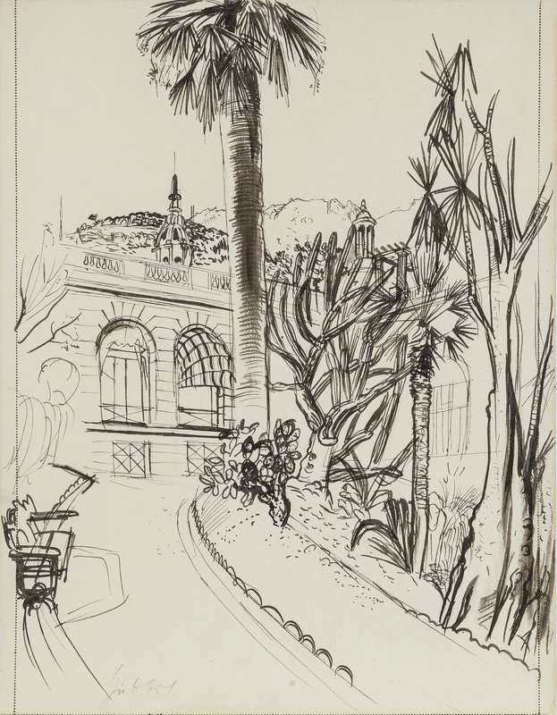 Karl HUBBUCH - Drawing-Watercolor - Villa in Monaco