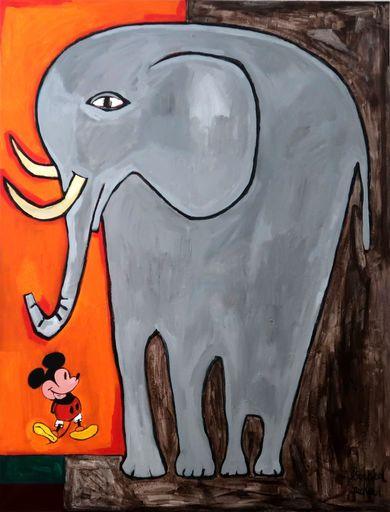 Richard BOIGEOL - Gemälde - L'éléphant et la Souris