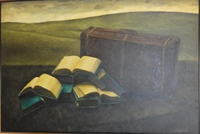 Meir PICHHADZE - Painting - *Suitcase and Books, Oil on Canvas,38 x 31