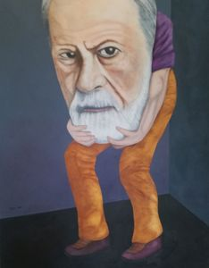 Christian SATIN - Painting - Dr FREUD , now all wrong ?     (Cat N° 5694)