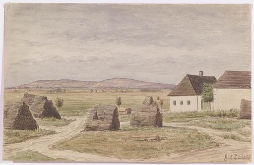"Gustav BARBARINI - Drawing-Watercolor - Gustav Barbarini (1840-1910), ""Village Edge"", Watercolor"