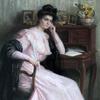 Louise Laure BEAUFEREY - Dibujo Acuarela - Femme pensive accoudée à son bureau