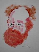 Michel CASTANIER - Zeichnung Aquarell - Homme barbu
