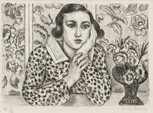 Henri MATISSE (1869-1954) - Jeune fille accoudée au paravent fleuri