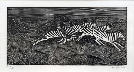 Gerhard MARCKS - Estampe-Multiple - Löwe und Zebras