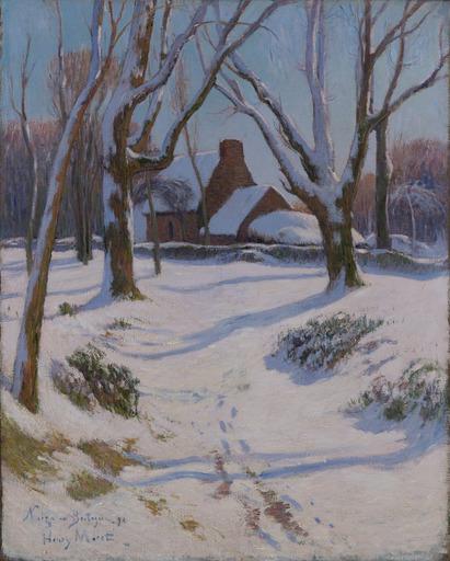 アンリ・モレ - 绘画 - Bretagne, Ferme sous la neige