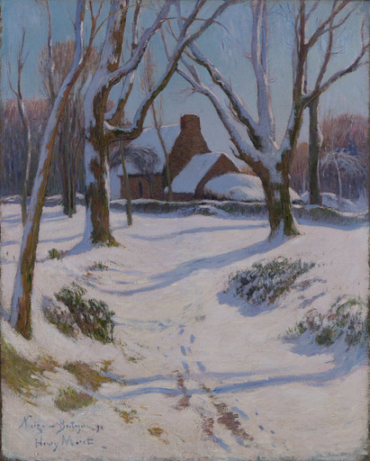 Henry MORET - Pintura - Bretagne, Ferme sous la neige