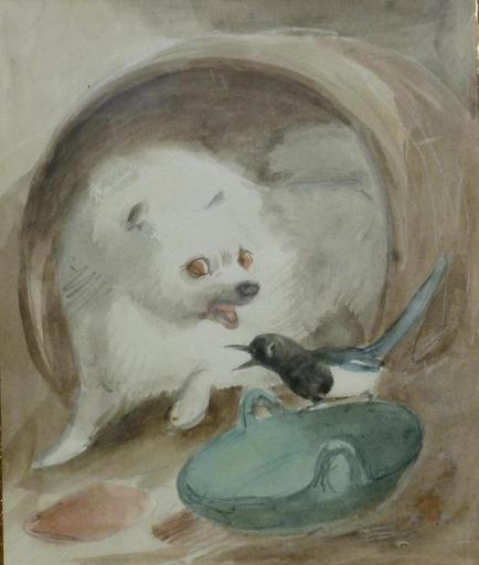 Henriette RONNER - Disegno Acquarello - Le chien et la pie