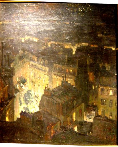 Jules Eugène PAGES - Gemälde - Paris,feu d'artifice