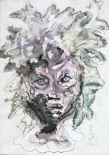 Leonor FINI - Drawing-Watercolor - FEMALE HEAD