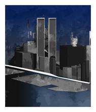 Jorge CASTILLO - Grabado - River, Building, Winter, NY