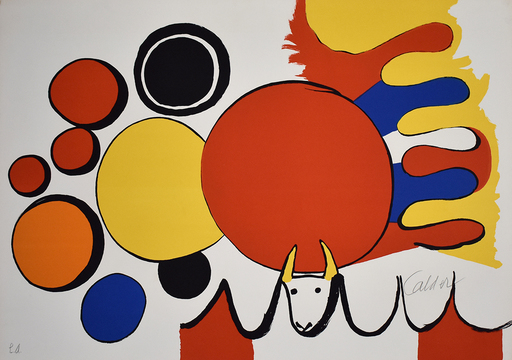 Alexander CALDER - Estampe-Multiple - Bull and Circles, from: Poems to Watch